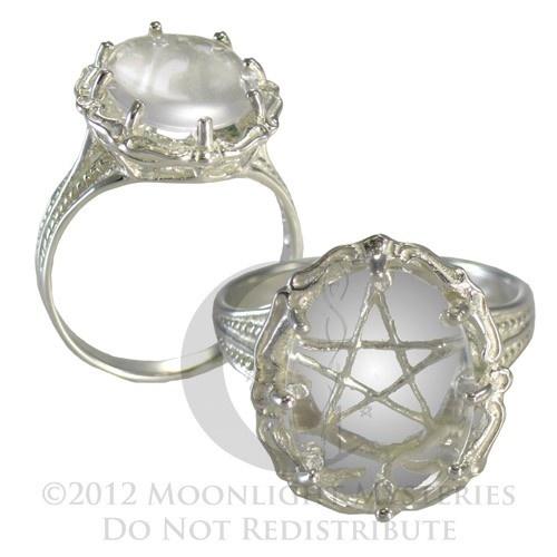 Large Clear Quartz Gemstone Pentacle Pentagram Ring Wicca Pagan Jewelry  (sz 4-15)