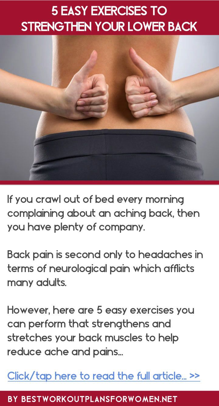 5 easy exercises to strengthen your lower back - Click to read the full article: http://www.bestworkoutplansforwomen.net/5-easy-exercises-to-strengthen-your-lower-back.html