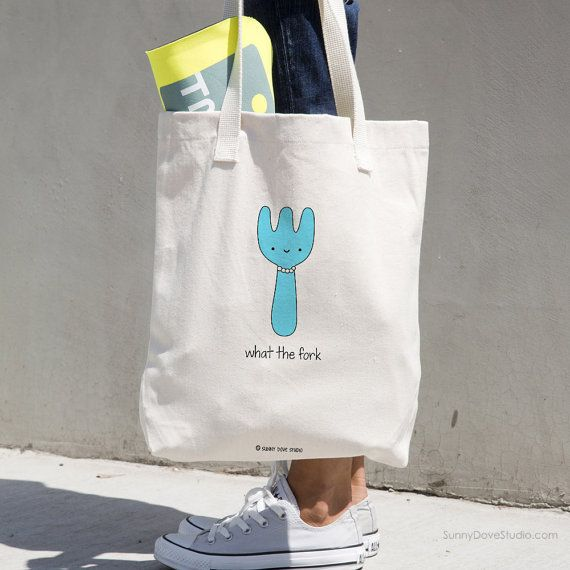 Funny Tote Bag Christmas Gift For Friend Her Girlfriend BFF What The Fork Pun WTF Sarcasm Snarky Quote Cute Kawaii Totes Bags Birthday Gifts  What The Fork. This funny tote bag makes a fun Christmas or birthday gift for friends and family, the pun lovers in your life and a fun treat for yourself! You and your friends will love toting this cute bag around as a purse, errand bag, book bag, beach bag or that fun extra bag everyone needs to throw in those random little everyday items! Add a…
