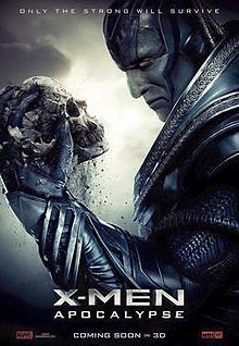 "Apocalypse ,the film's villain holds a human skull with the film's title below and the slogan ""Only the Strong Survive"" upon him."