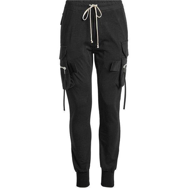 Rick Owens Cotton Cargo Pants ($720) ❤ liked on Polyvore featuring pants, black, mens cargo jogging pants, mens slim fit cargo pants, mens jogger pants, mens cargo pants and mens utility pants