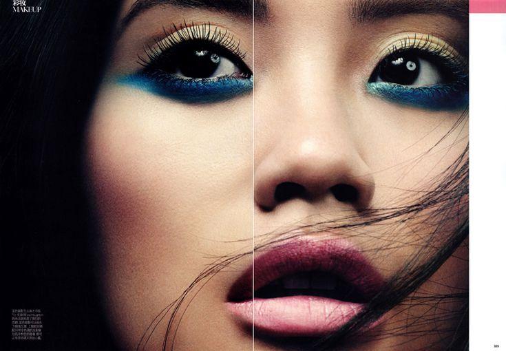 blue and gold eye makeup: Colors Combos, Make Up, Eyeliner, Eye Shadows, Beautiful, Blue Eye Makeup, Eyeshadows, Eye Liner, Vogue China