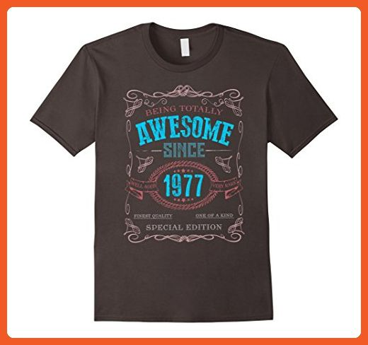 Mens 40th Birthday gift shirt Vintage Awesome Since 1977 40 years XL Asphalt - Birthday shirts (*Partner-Link)