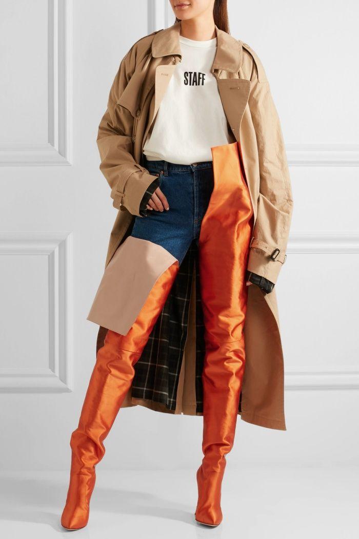 8df9ebcdb5f Model wearing Vetements x Manolo Blahnik Waist-High Boots in Bright Orange  Satin