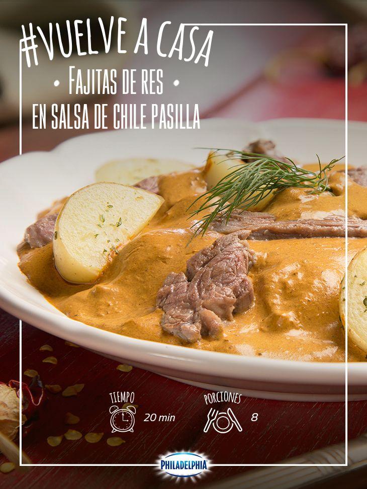 Las tardes saben mejor con con unas Fajitas de res en salsa de chile pasilla.