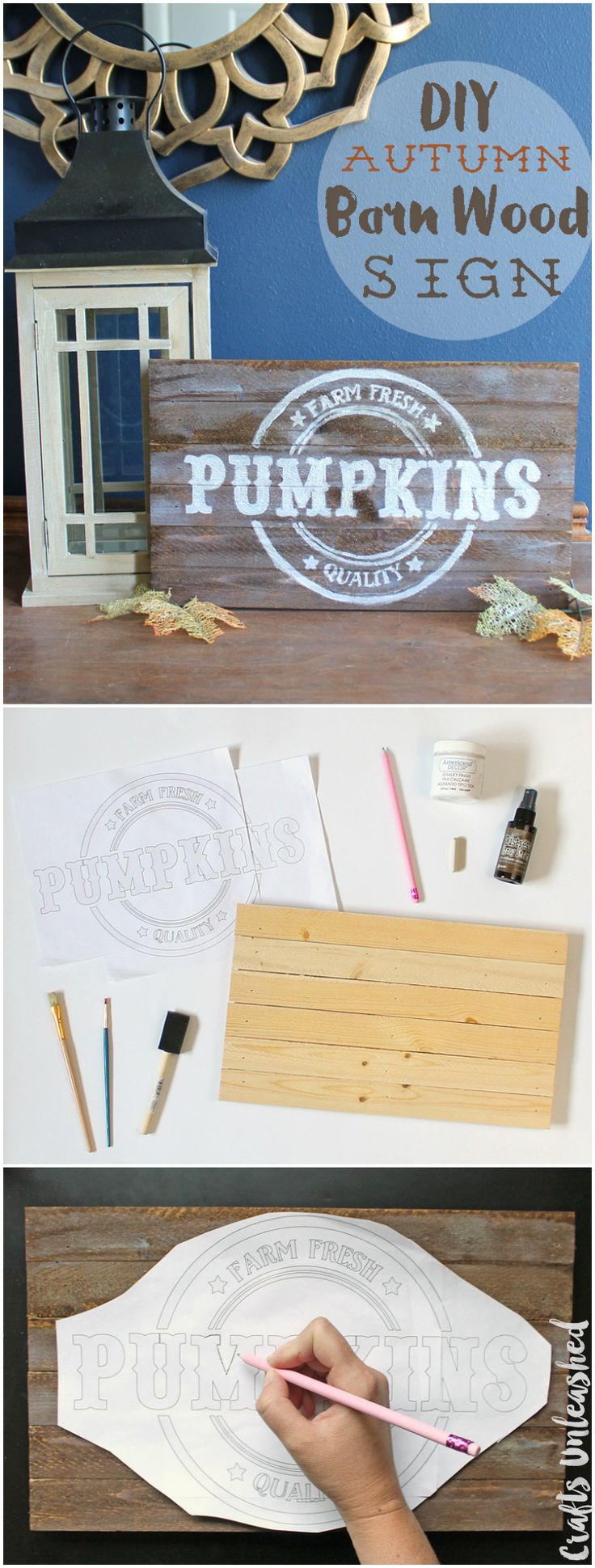 DIY Pallet Sign Tutorial: Autumn Pumpkins - Consumer Crafts
