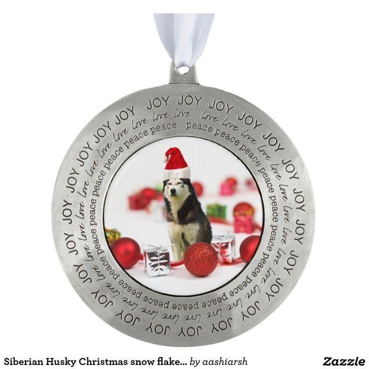 #Siberian #Husky #Christmas snow flake #Ornament #animal #dog #pet
