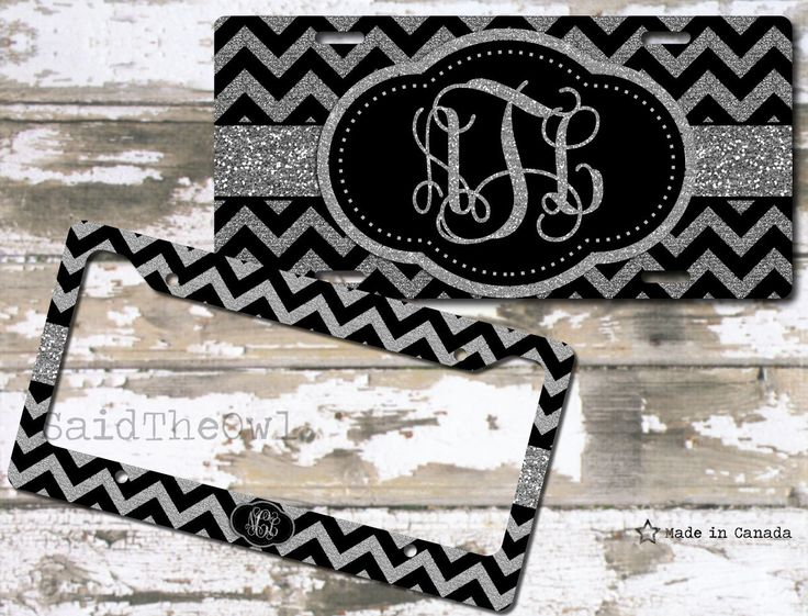 silver glitter black and silver chevron cute license plate bike tag monogrammed license plateplate licenseframe