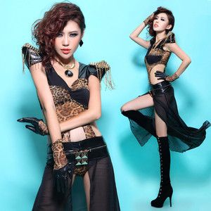 SEXY Womens Costume Bodysuit+Skirt+Gloves Tassel Dance Wear Leopard Rivet XS S M