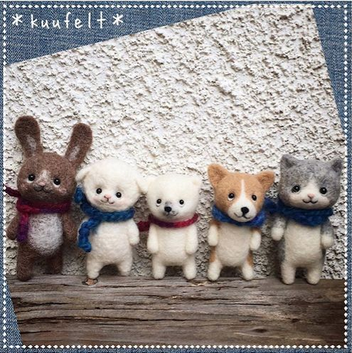 Needle felting wool cute animals bunny dog cat sheep bear (Via @kuufelt)