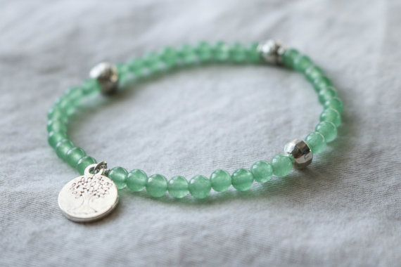 Beaded Gemstone Bracelet with Aventurine and by HeartOnHerSleeveCA