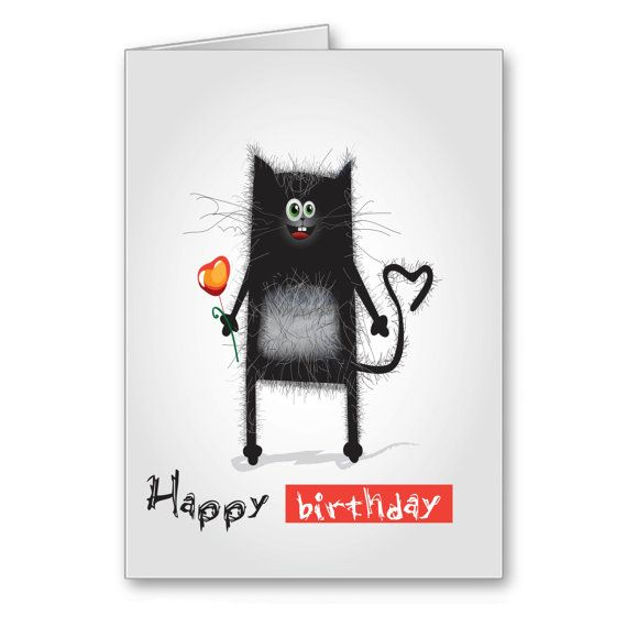 Greetings Cards Funny Happy Birthday by TheLazyCatStudio on Etsy, $3.50