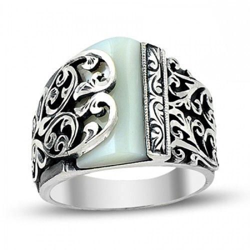 Erkek Yüzük - Sedef Taşlı Asimetrik Tasarım Erzurum El Işi Gümüş Erkek Yüzüğü