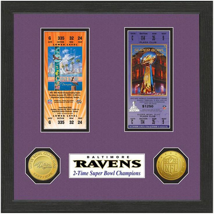 Baltimore Ravens Super Bowl XLVII & XXXV Two-Time Champions Framed Ticket Collection with Gold-Plated Coins