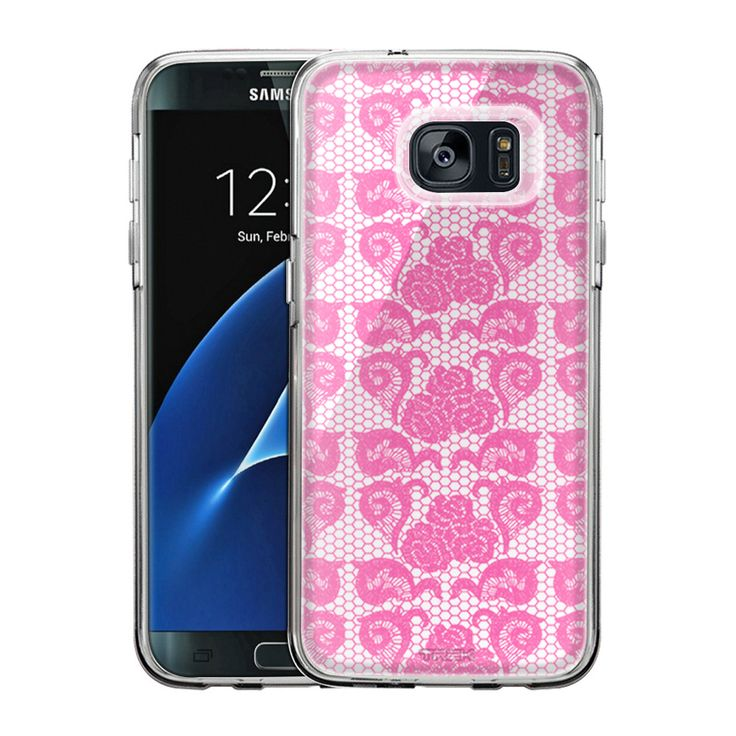 Samsung Galaxy S7 Edge Stunning Orchid Pink Rose Swirl Lace Slim Case