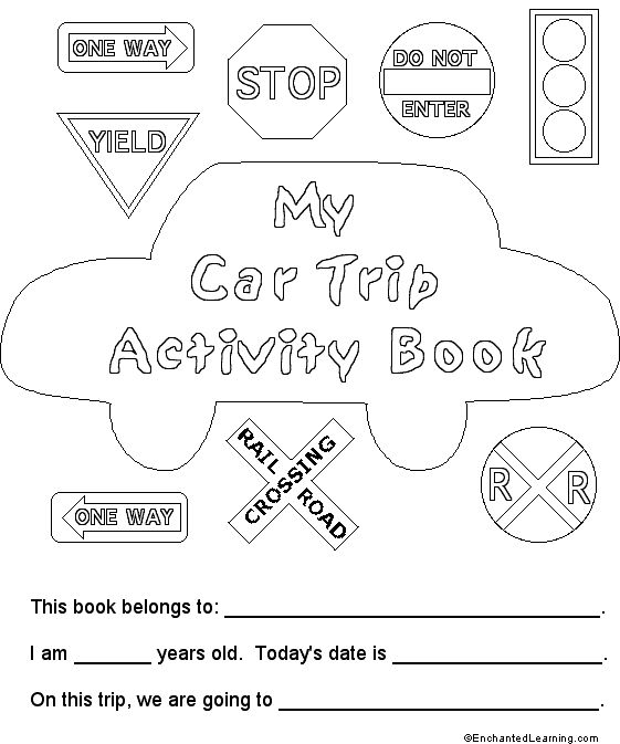 Car Trip Activity Book (Cover) - EnchantedLearning.com