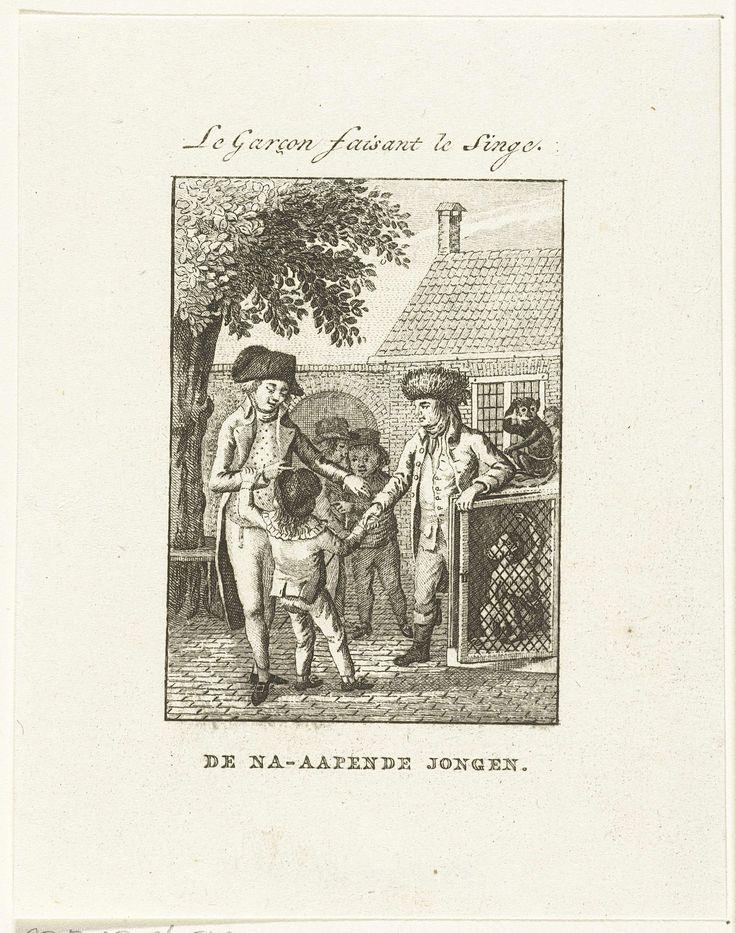 Jan Lucas van der Beek | Jongen wordt als straf bij aap in kooi gestopt, Jan Lucas van der Beek, Isaac van Haastert, weduwe Jan Dóll, 1781 - 1799 |