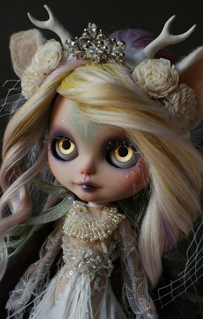 ANCIENT FOREST DEER SPIRIT (Ooak BLYTHE Doll) Art Print by Roguedolls