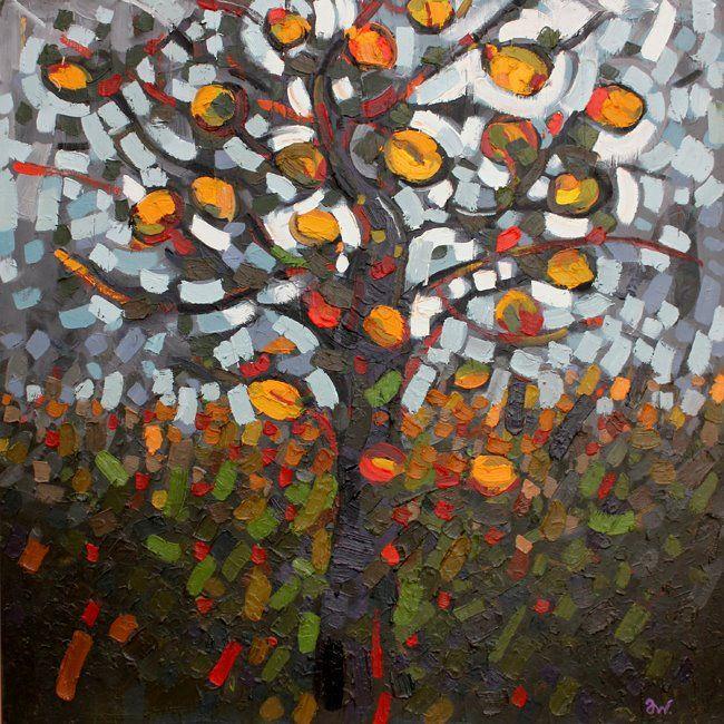 Anna Wolska - Orange tree, 2012, impasto abstract painting, 100x100cm, oil on board