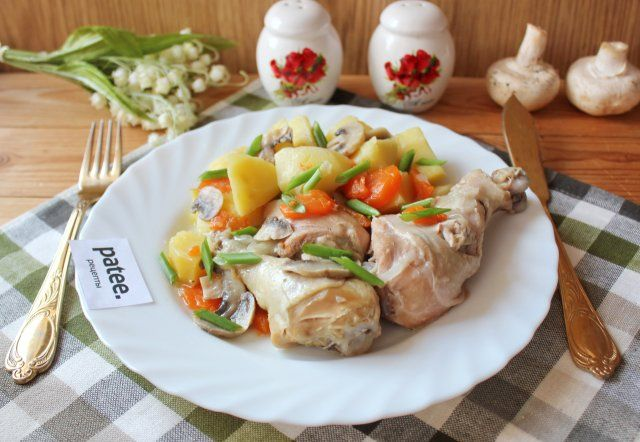 Жаркое из курицы с картофелем и грибами в банке   Рецепт в ...