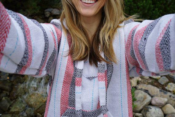 Mexican Baja Hoodie Drug Rug Pullover Sweatshirt | Baja Jacket Surfer Poncho…