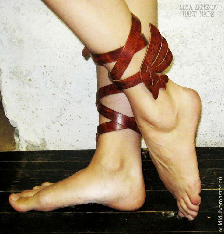 Купить Анклеты (ножные браслеты) из натуральной кожи. - коричневый, анклеты, ножные браслеты, браслеты