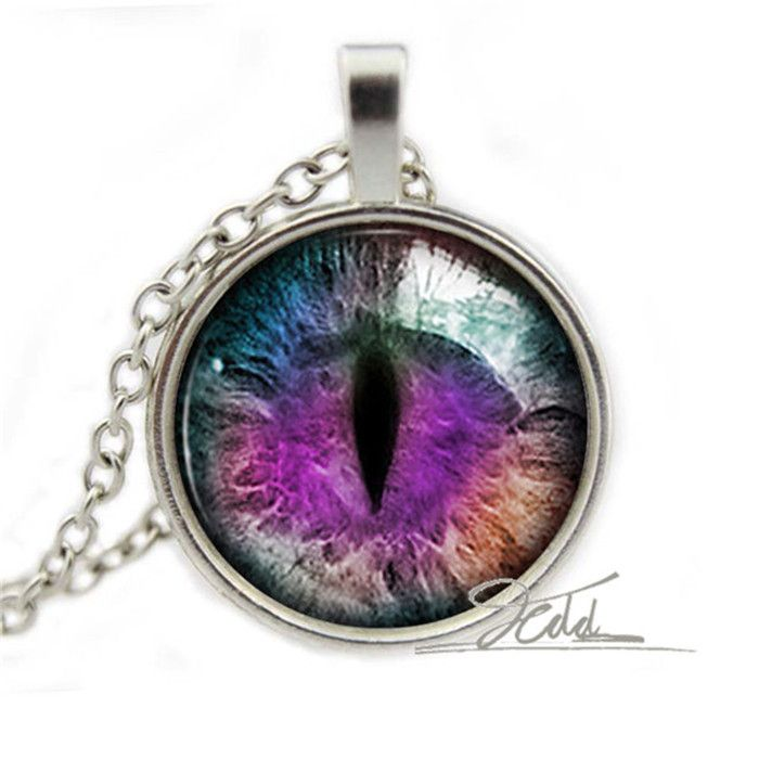 Purple Dragon Cat Eye Necklace - 10 USD - silver