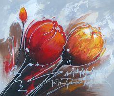 Peinture moderne de fleurs. Tableau peinture fleurs orange et rouge.