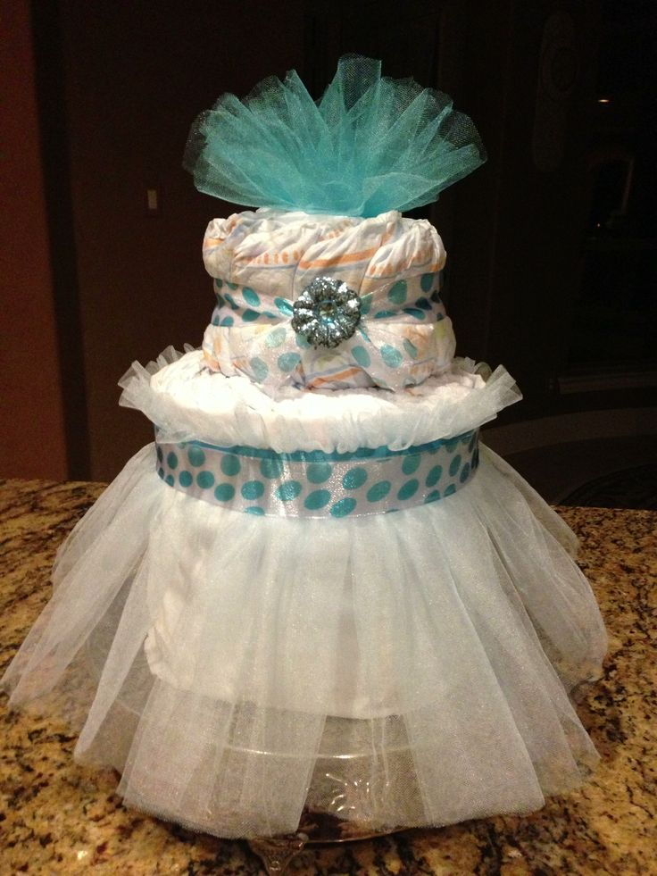 Baby boy shower diaper cake blue and white