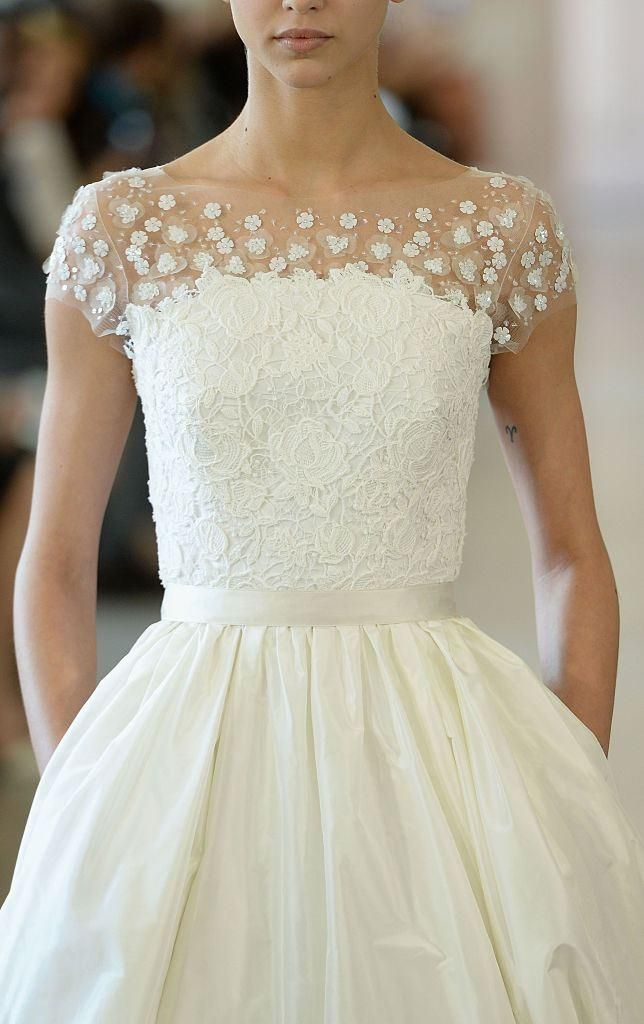 Wedding Dress Trends 2016: Oscar de la Renta Bridal Gowns for a sweet but modern take on classic silhouettes.
