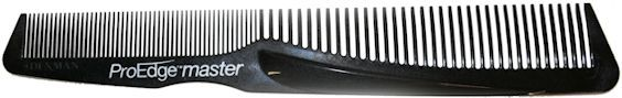 Denman ProEdge Master. The ProEdge Master is a longer version of the ProEdge and has been moulded using a carbon fibre additive which offers enhanced strength and durability. The added thumb groove allows comfort and grip when cutting the hair. http://www.denmanbrush.com/acatalog/Denman-ProEdge-Master.html