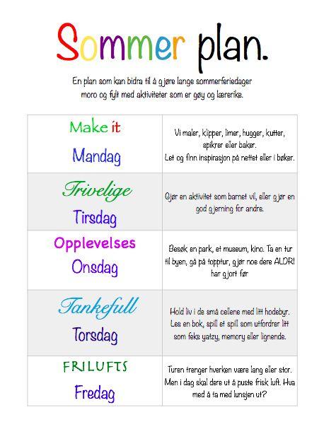 Sommerplan - Til lange sommerdager | Idebank for småbarnsforeldreIdebank for småbarnsforeldre