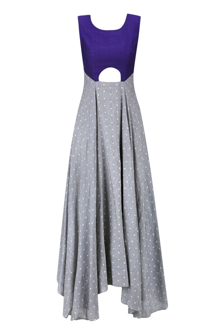 Light grey and purple cut out flared asymmetrical dress available only at Pernia's Pop Up Shop.
