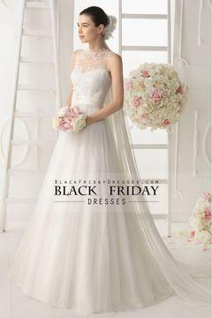 2014 cuello alto de encaje blusa una línea vestido de boda con la cinta y hecho a mano de la flor USD 219.99 BFPALZSKFS - BlackFridayDresses.com