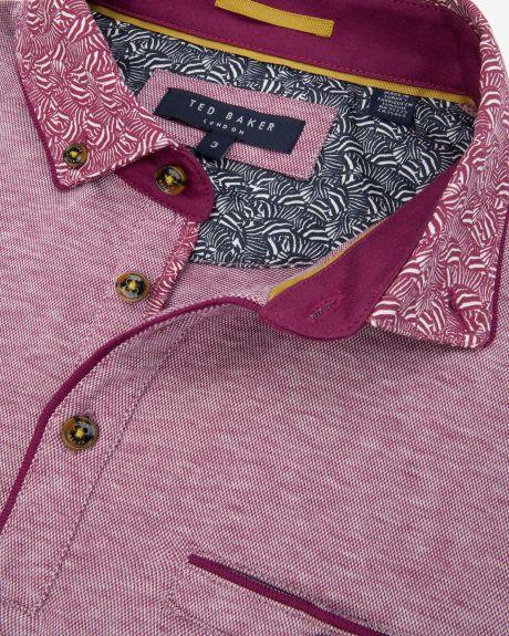 Zebra printed collar polo shirt - Fuchsia | Tops & T-shirts | Ted Baker UK