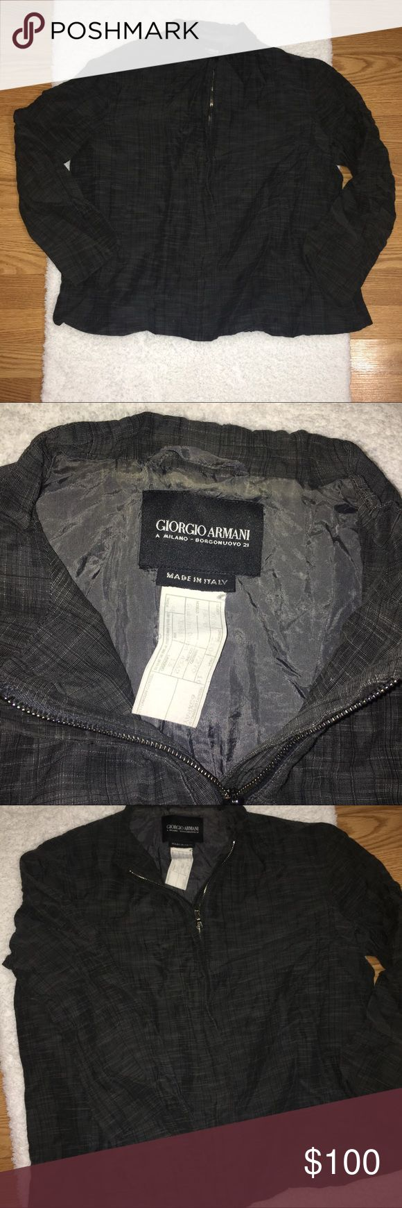 Giorgio Armani Jacket A Milano - Borgonuovo 21 Made in Italy Size M, 23' from armpit to armpit 65% rayon 35% cotton zip up jacket with faux pockets, grey color from smoke free home Giorgio Armani Jackets & Coats