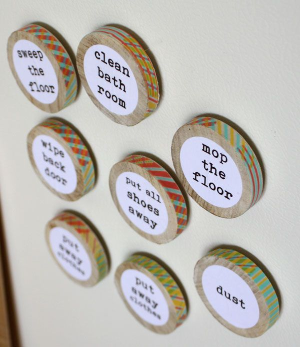 Chore 'chart' idea.  might be able to find round disks instead of cutting a dowel rod...