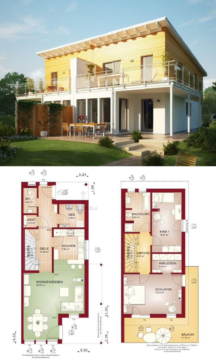Doppelhaus mit Pultdach - Haus Celebration 110 V5 L von Bien Zenker - Fertighaus bauen Grundriss modern offene Küche Terrasse Loggia Balkon überdachter Hauseingang - HausbauDirekt.de