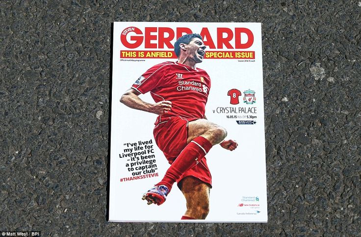 Thanks Stevie: The match day programme featuring an image of  Gerrard on its front cover w...