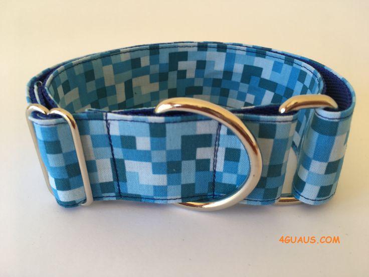Collar perro píxel azul, Collar martingale, Collar galgo, Martingale dog collar, Collares para perros, Correa perro, Azul pixelado, azul de 4GUAUS en Etsy