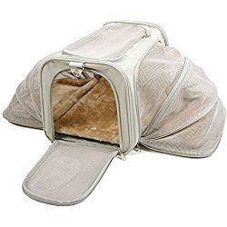 "Jet Sitter Luxury Expandable Dog Carrier V2 - Airline Approved, Improved Durable Mesh Netting, Soft Sided Top Load for Dogs or Cats, TSA airplane in cabin under seat (18""x11""x11"", Khaki)"