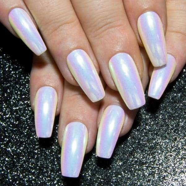 Pink Unicorn Chrome Rainbow Unicorn Metallic Nails All Tip Shapes Mirror Nails Gel Acrylic Nails Irridescent Nails