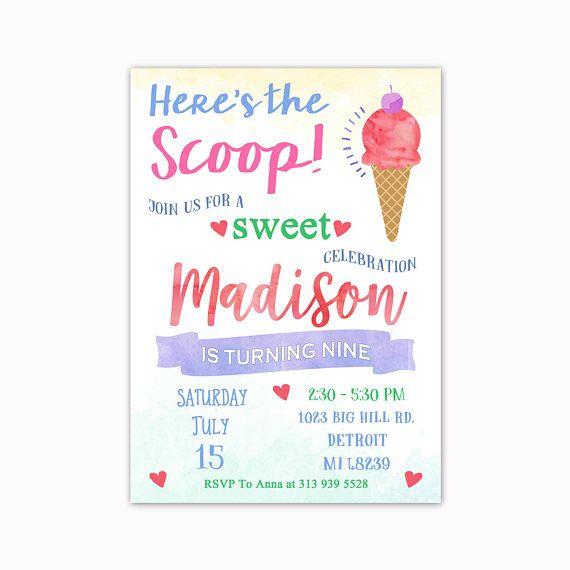 Ice Cream Birthday Invitation Ice Cream Invitation Ice Cream