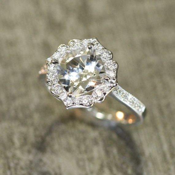 Vintage Floral White Topaz Diamond Engagement Ring by LaMoreDesign