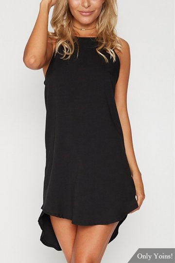 Black Simple Sleeveless Mini Dress