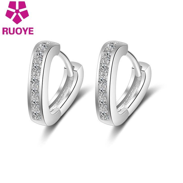 RUOYE Fashion Platinum Plated Single Row Crystal Heart Stud Earrings Jewelry Simple Earring For Women