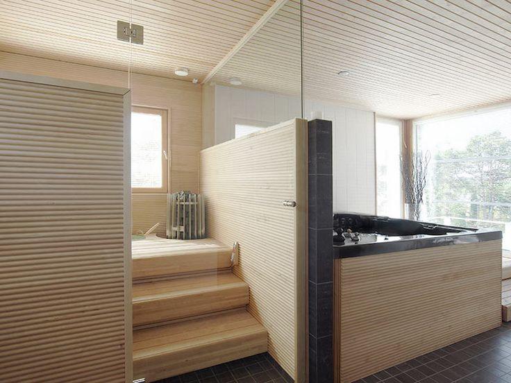 Modern sauna and bath tub