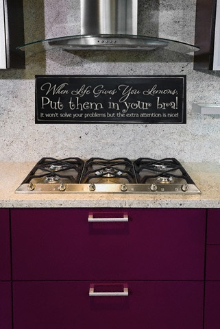 """When Life Gives You Lemons, Put Them In Your Bra, It Won't Solve Your Problems But The Extra Attention Is Nice!"""": Decal Kitchen, Living Rooms, Extra Attention, Kitchen Decor, Lemons Vinyl, Wall Decal, Family Room, Vinyl Lettering, Won T Solve"""