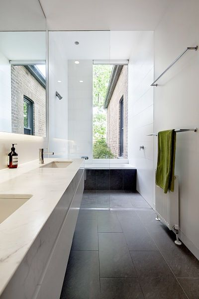 Mullins house, Kew. Shower & bath position same as us. Loving the darker floor tiles white vanity and white walls