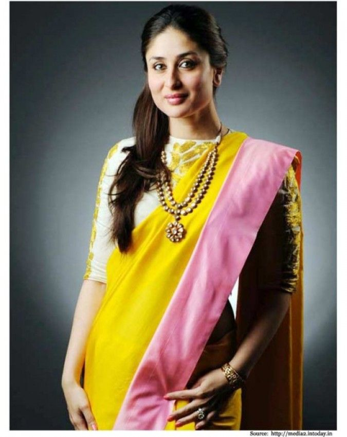 Yellow saree with baby pink border